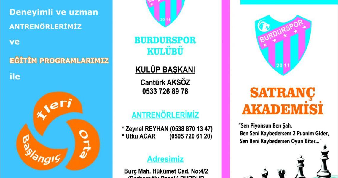 Burdurspor Satranç Eğitim Merkezi broşürü